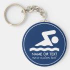 Custom Swim Team Swimmer Name Key Ring