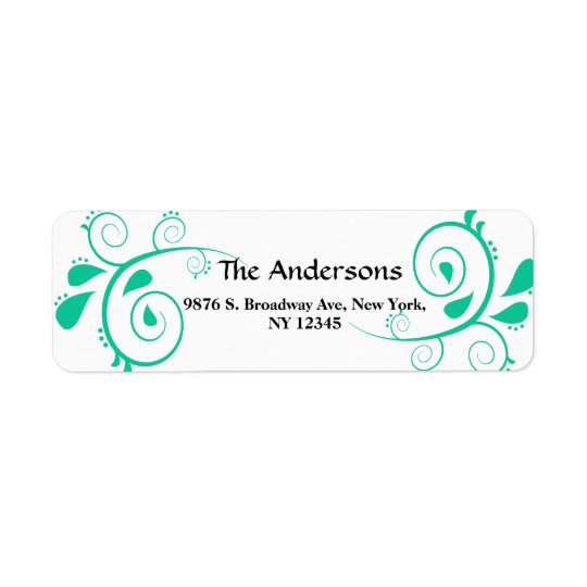 Custom Swirls Return Wedding Address Label