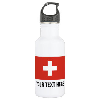Custom Swiss flag water bottles for Switzerland