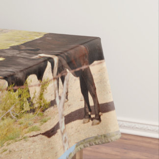 "Custom Table Cloth ""Brown Cows in Chrome"" Tablecloth"