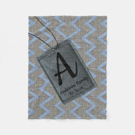 Custom tag family name monogram blue grey chevron