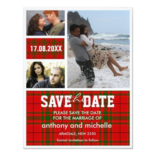 Custom tartan photo block wedding save the date
