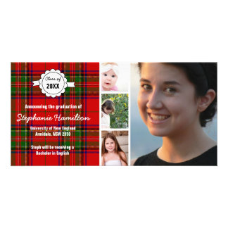 Custom tartan photo graduation customised photo card