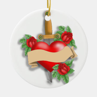 Custom Tattoo Heart Christmas Ornament