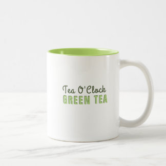 Custom Tea O Clock Green Tea Two-Tone Coffee Mug