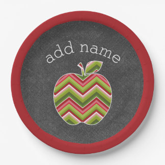 Custom Teacher Apple - Red Green Chevron Pattern Paper Plate