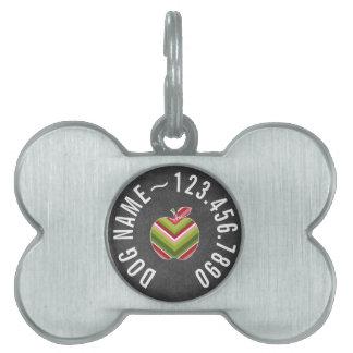 Custom Teacher Apple - Red Green Chevron Pattern Pet ID Tag