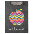 Custom Teacher Apple with Trendy Chevron Pattern Clipboard