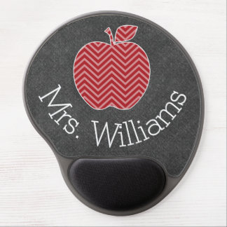 Custom Teacher Apple with Trendy Chevron Pattern Gel Mouse Mat