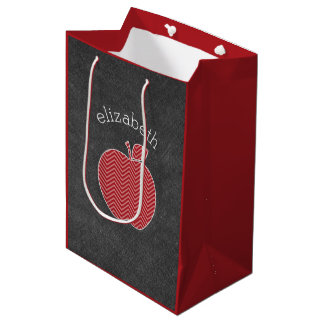 Custom Teacher Apple with Trendy Chevron Pattern Medium Gift Bag