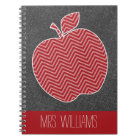 Custom Teacher Apple with Trendy Chevron Pattern Notebook