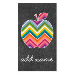 Custom Teacher Apple with Trendy Chevron Pattern Pack Of Standard Business Cards