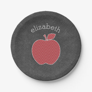 Custom Teacher Apple with Trendy Chevron Pattern Paper Plate
