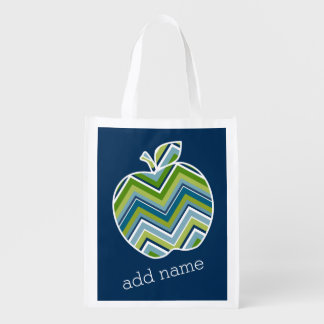 Custom Teacher Apple with Trendy Chevron Pattern Reusable Grocery Bag