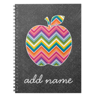 Custom Teacher Apple with Trendy Chevron Pattern Spiral Note Book