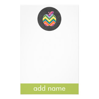 Custom Teacher Apple with Trendy Chevron Pattern Stationery