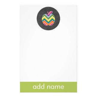 Custom Teacher Apple with Trendy Chevron Pattern Stationery Paper