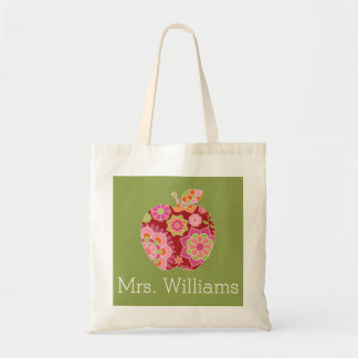 Custom Teacher Apple with Trendy Floral Pattern