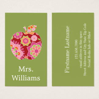 Custom Teacher Apple with Trendy Floral Pattern Business Card