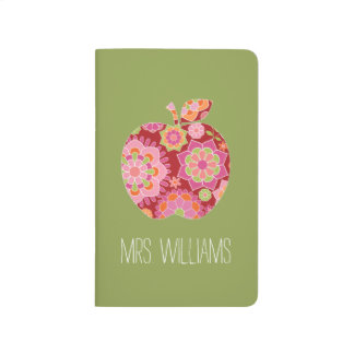 Custom Teacher Apple with Trendy Floral Pattern Journal