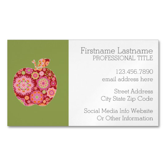 Custom Teacher Apple with Trendy Floral Pattern Magnetic