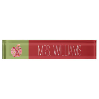 Custom Teacher Apple with Trendy Floral Pattern Name Plate