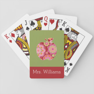Custom Teacher Apple with Trendy Floral Pattern Playing Cards
