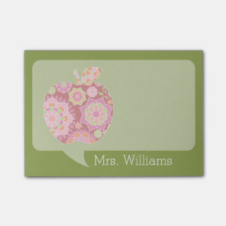 Custom Teacher Apple with Trendy Floral Pattern Post-it Notes