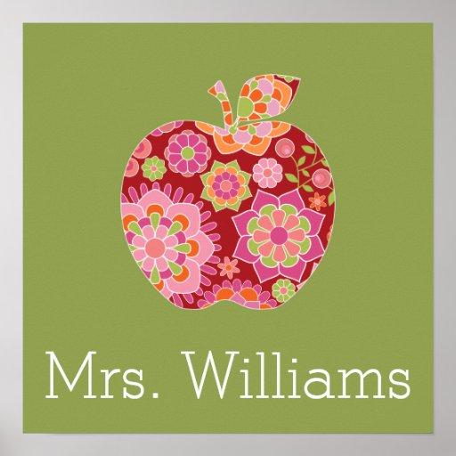 Custom Teacher Apple with Trendy Floral Pattern Poster