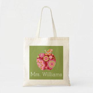 Custom Teacher Apple with Trendy Floral Pattern Tote Bag