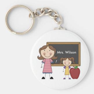Custom Teacher Gift Basic Round Button Key Ring