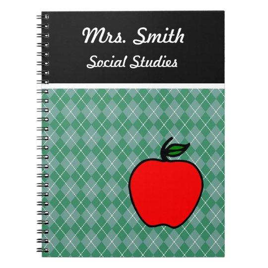 Custom Teacher's Apple Class School Notebook Gift