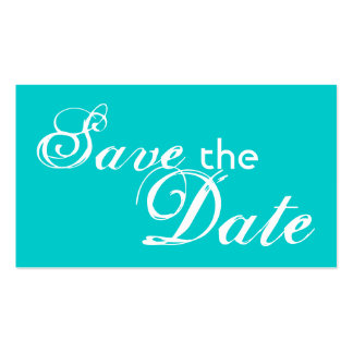 Custom teal back save the date wedding cards business card template
