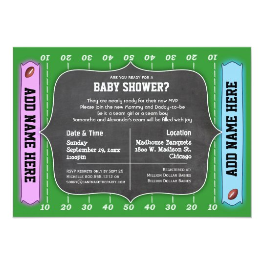 Custom Team Football Themed Baby Shower Invitation