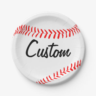 Custom Team Name/Text Baseball Party Paper Plates