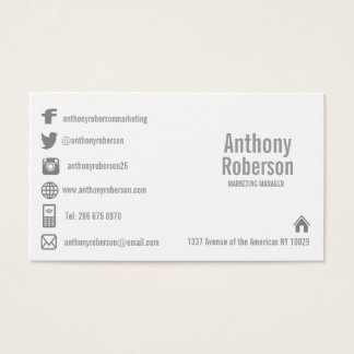 Custom template with social media symbols business card