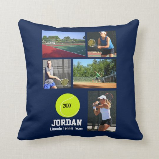 Custom Tennis Photo Collage Name Team Year Cushion