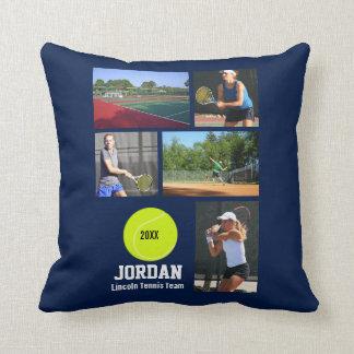 Custom Tennis Photo Collage Name Team Year Cushion