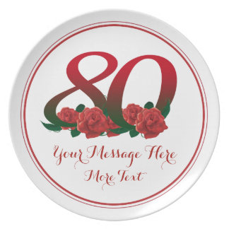 Custom text 80th birthday number 80 floral plate