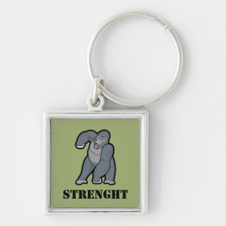 Custom Text Angry Gorilla Silver-Colored Square Key Ring