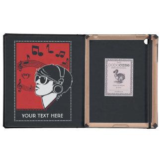 Custom Text Art Deco Music cases iPad Folio Cover