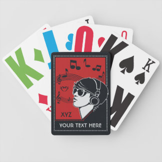 Custom Text Art Deco Music playing cards