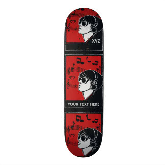 Custom Text Art Deco Music skateboards