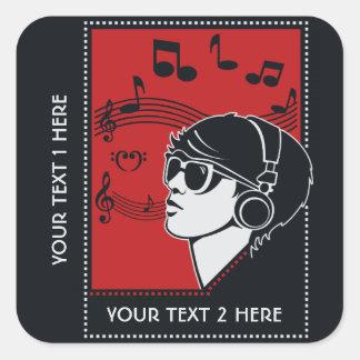 Custom Text Art Deco Music stickers
