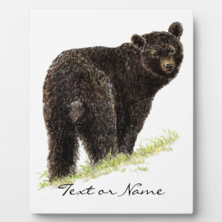 Custom Text  Black Bear  Animal Nature Plaque