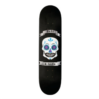 Custom Text Black Blue Candy Skull Deck Skate Deck