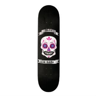 Custom Text Black Pink Candy Skull Deck Skate Board