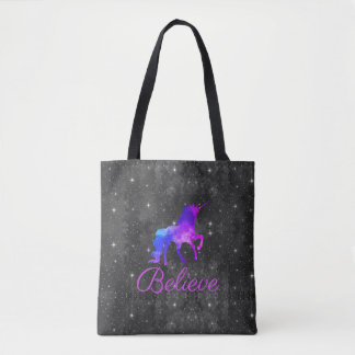 Custom Text Black/Purple Galaxy Unicorn Tote Bag