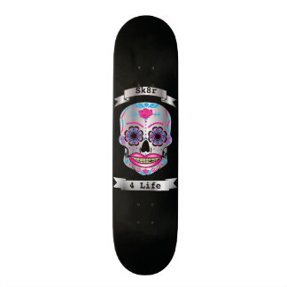 Custom Text Black Rose Candy Skull Deck 20 Cm Skateboard Deck