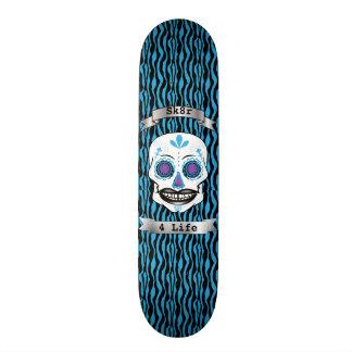 Custom Text Blue Zebra Blue Candy Skull Deck Skateboard